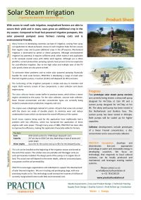 Product Sheet: Solar steam irrigation