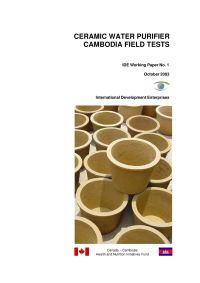 Ceramic Water Purifier Cambodia Field Tests