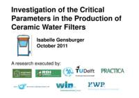 Investigation of the Critical Parameters in the Production of Ceramic Water Filters