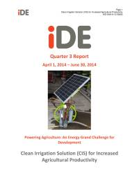 Clean irrigation solution for increased agricultural productivity – Quarter 3 report