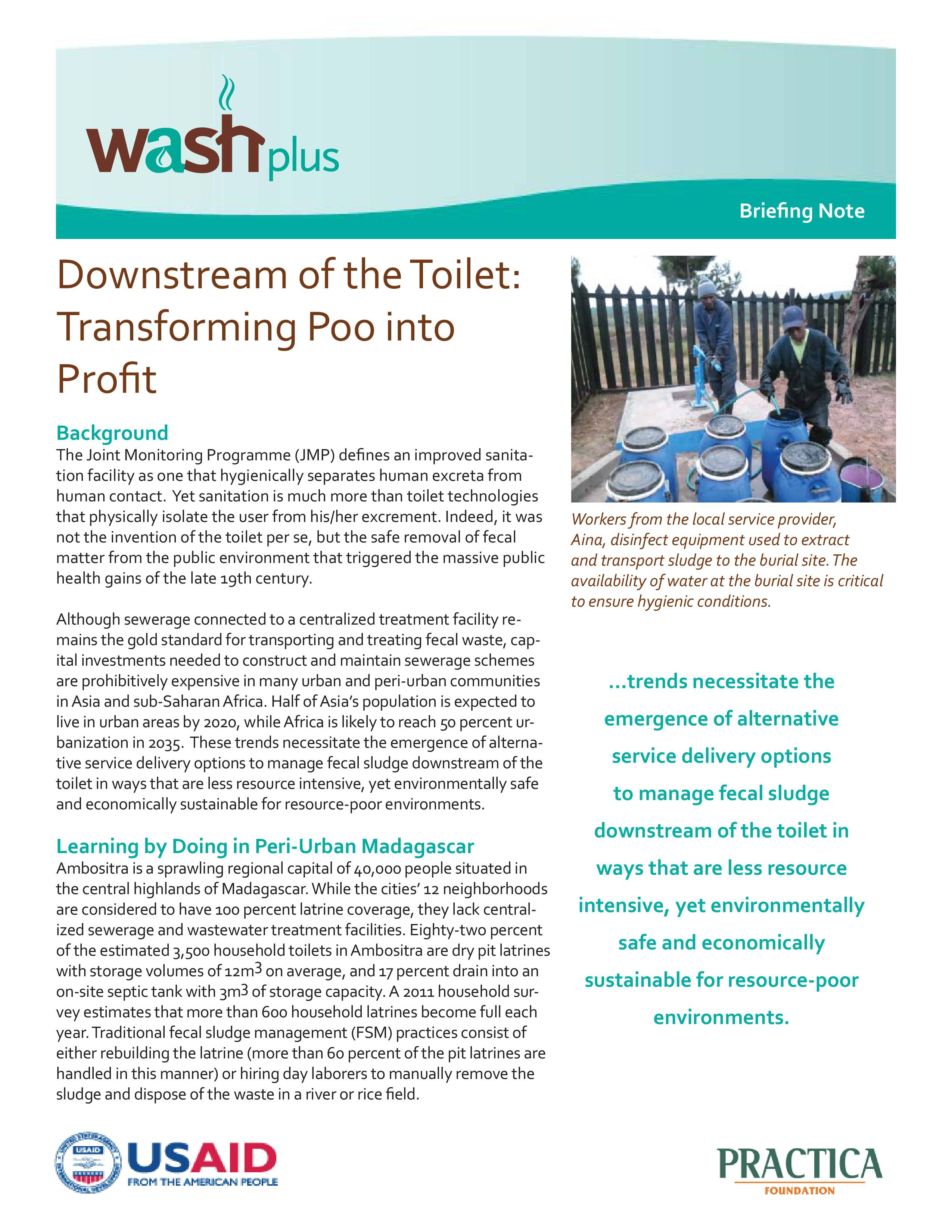 Downstream of the Toilet: Transforming Poo into Profit
