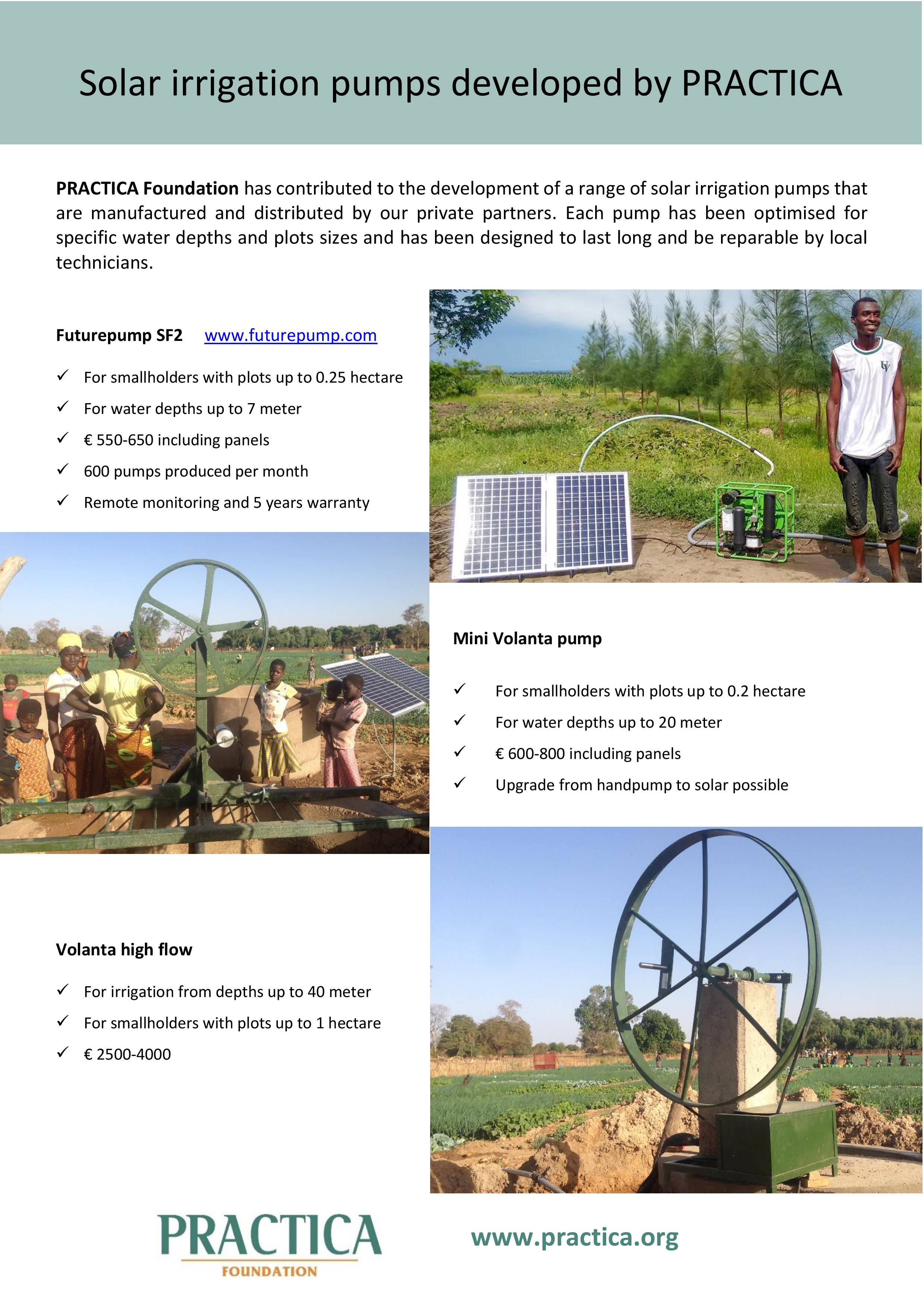 Solar irrigation pumps developed by PRACTICA